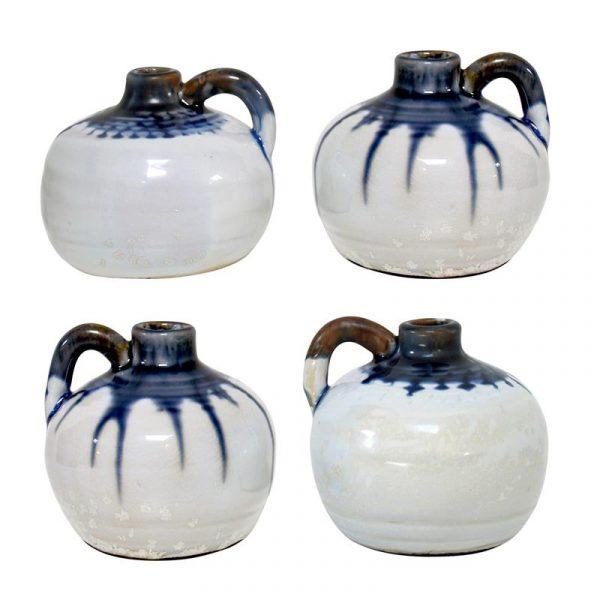 HK-living vaas keramiek inkt potje wit, blauw druppels medium Ø 10 cm-8013
