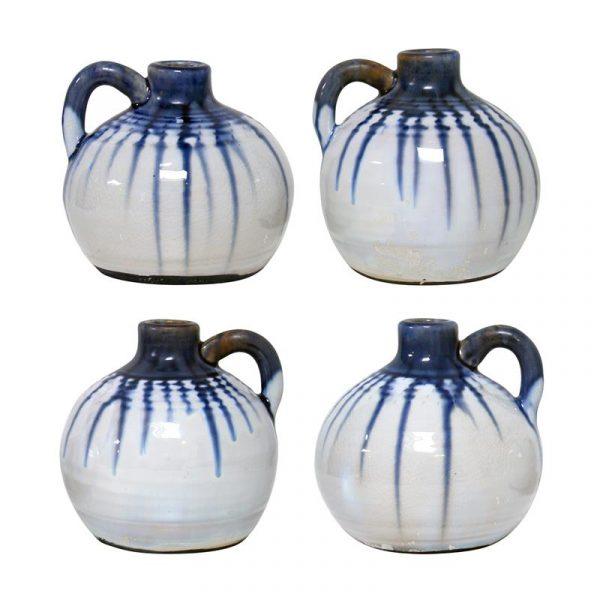 HK-living vaas keramiek inkt potje wit, blauw druppels large Ø 13 cm-8012