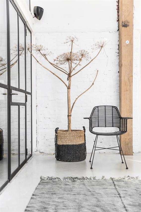 HK-living kuipstoel rotan zwart 67x55x83cm-7869