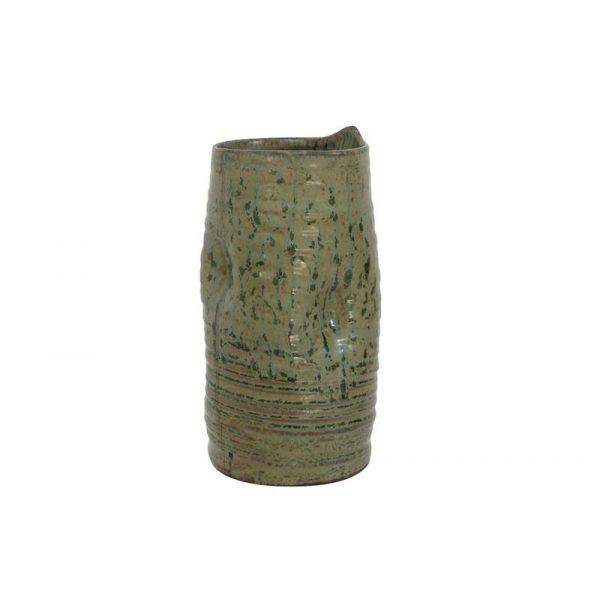 hk-living-vaas-keramiek-zand-bruin-groen-reliëf-cer0041