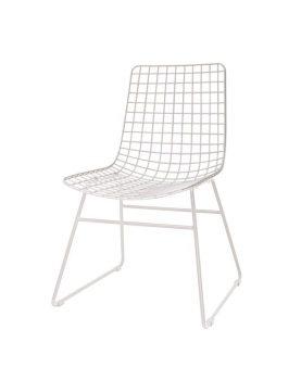 HKliving eetkamerstoel, draadstoel metaal wit 47x54x86cm-0
