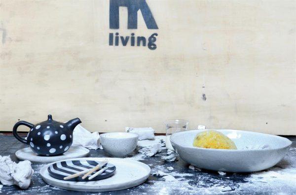 HKliving bord, dinerbord keramiek wit/grijs Ø 28 cm 28x28x2,2cm-8796