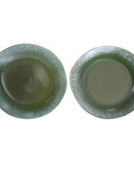 HKliving bord, dinerbord keramiek groen seventies style Ø 29 cm -26972