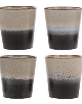 HKliving mok rock zwart, grijs, naturel seventies style keramiek Ø 7,5 cm-26766