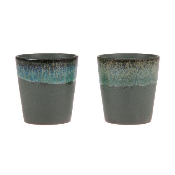 HK-living mok moss blauw, grijs, bruin seventies style keramiek Ø 7,5 cm-32336