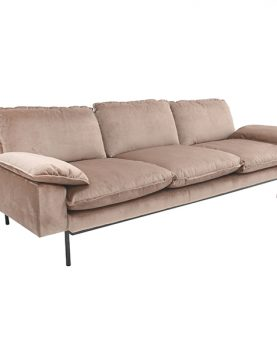 HK-living bank sofa retro fluweel nude 3-zits 225x83x95cm-12491