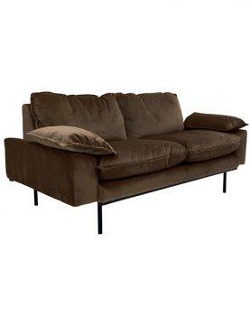 HK-living bank sofa retro fluweel hazel bruin 2-zits 175x83x95cm-12503