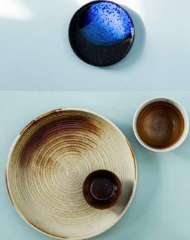 HKliving diner bord rustiek bruin Kyoto keramiek-29456