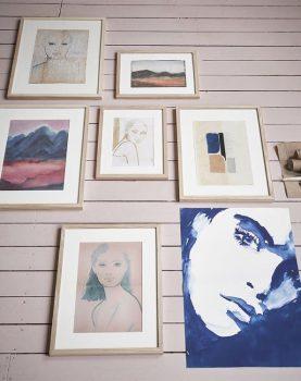 HKliving canvas print portret blauw wit Tiny stories-14007