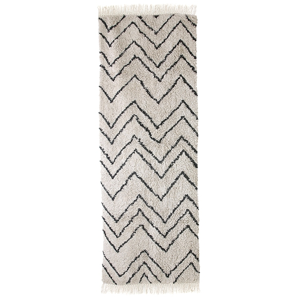 ad image is 5000. hkliving-vloerkleed-runner-zigzag-patroon-zwart-wit-75x220cm-TTK3030