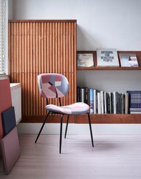 hkliving-eetkamerstoel-geprinte-stof-figuren-roze-grijs-zwart-msk3707