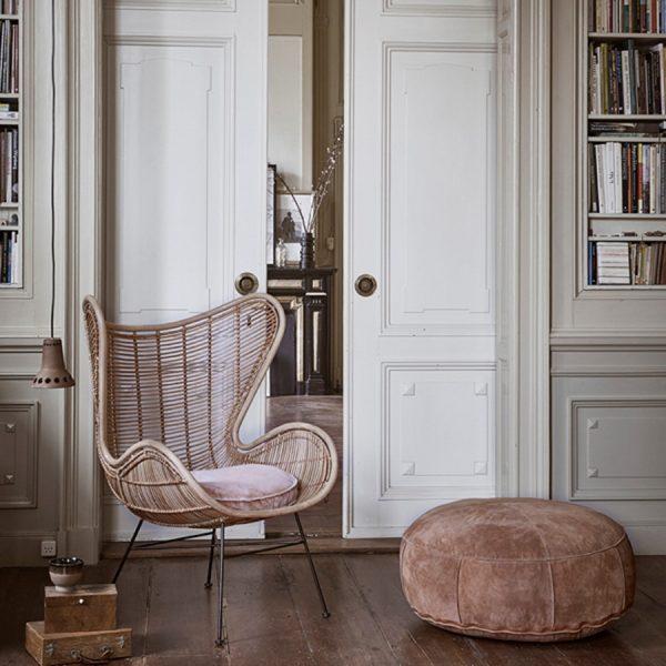 HKliving rotan stoel egg chair naturel-14603