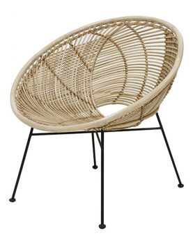 HKliving rotan lounge stoel bal naturel-0