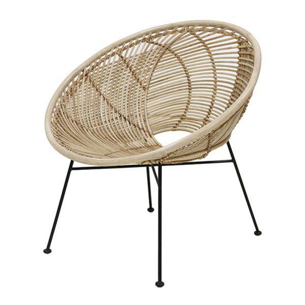 HKliving rotan lounge stoel bal naturel-0