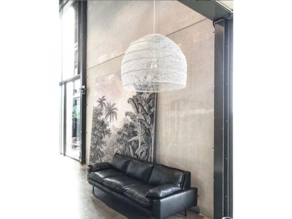 HKliving hanglamp riet wit 60x60x50cm-14625