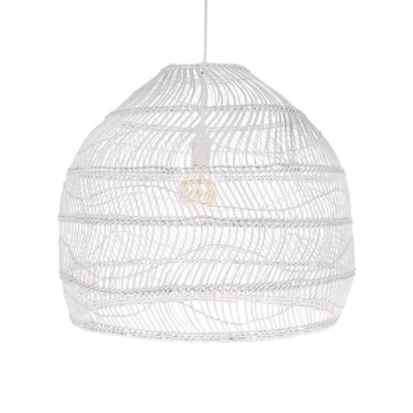 HKliving hanglamp riet wit 60x60x50cm-0