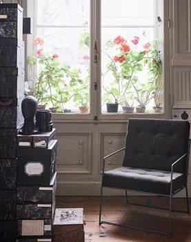 HK-living lounge stoel donkergroen corduroy ribstof-26494