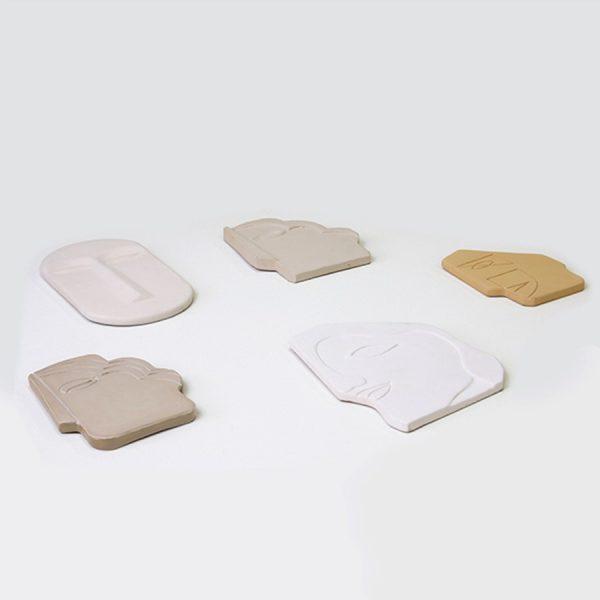HKliving face wall ornament masker aardewerk mat creme wit large-26709
