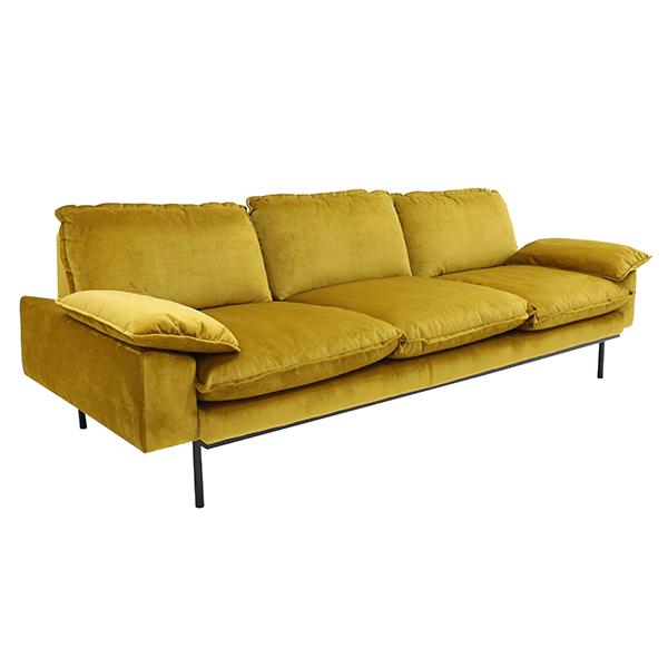 HK-living bank sofa retro fluweel oker geel 4-zits 245x83x95cm-26762