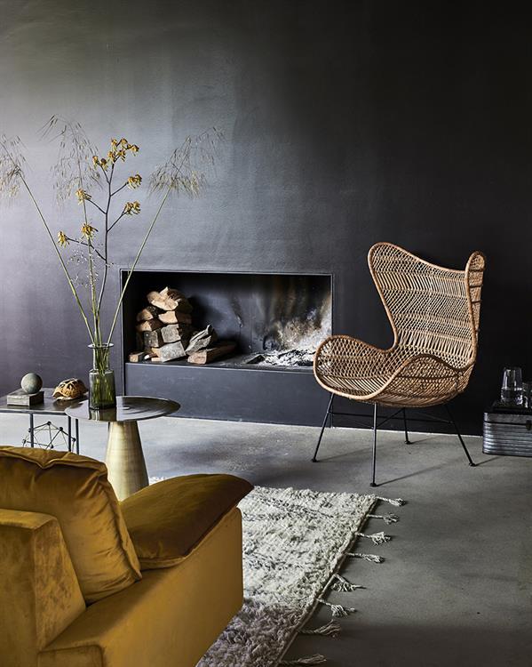 HK-living bank sofa retro fluweel oker geel 4-zits 245x83x95cm-26763