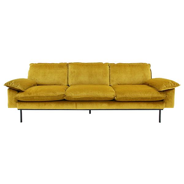 HK-living bank sofa retro fluweel oker geel 4-zits 245x83x95cm-0