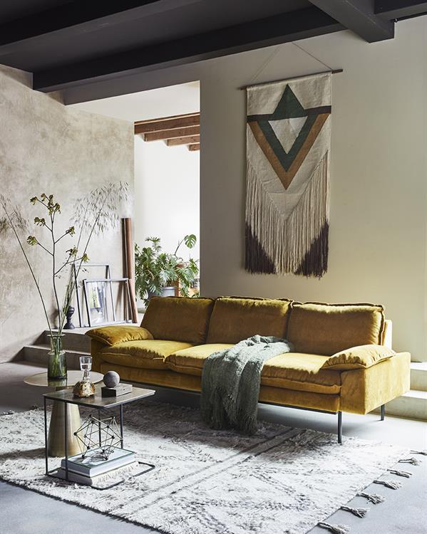 HK-living bank sofa retro fluweel oker geel 4-zits 245x83x95cm-26764