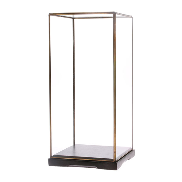 HKliving Glazen stolp M transparant glas metaal 18x18x40cm-0