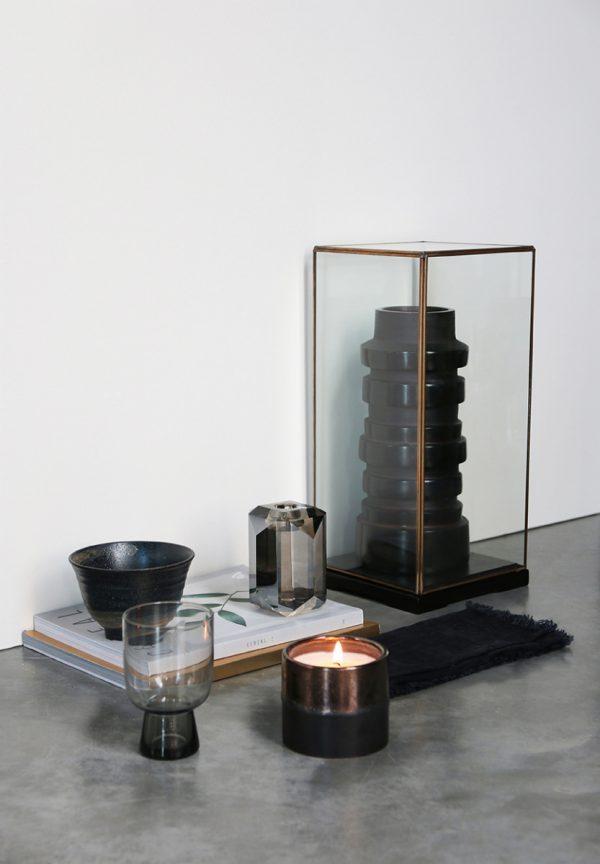 HKliving Glazen stolp M transparant glas metaal 18x18x40cm-26935
