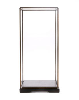 HKliving Glazen stolp M transparant glas metaal 18x18x40cm-26934