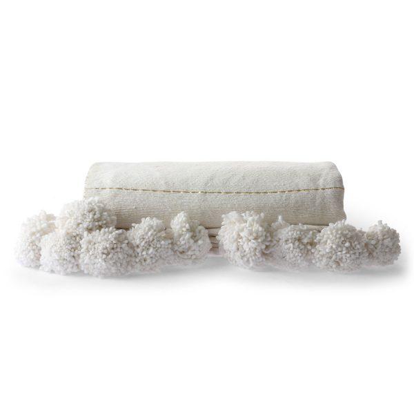 hkliving-plaid-pompons-wit-goud-gestreept-130x170cm-TTS1027