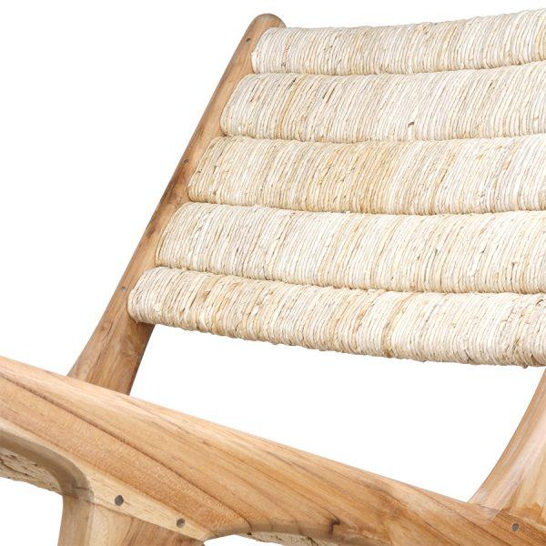 HKliving lounge stoel naturel teak / abaca 65x75x70cm -27188