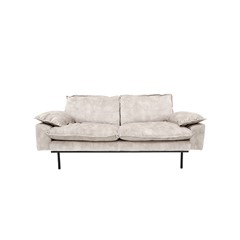 HK-living bank sofa retro velvet creme wit 3-zits 225x83x95cm. -27233
