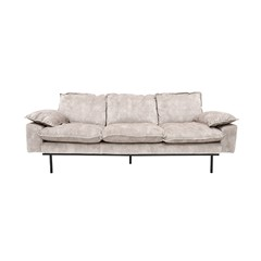 HKliving bank sofa retro velvet creme wit 2-zits 175x83x95cm. -27235