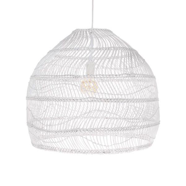 HKliving hanglamp riet wit 60x60x50cm (outlet)-27381