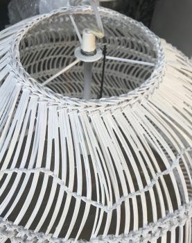 HKliving hanglamp riet wit 60x60x50cm (outlet)-27384