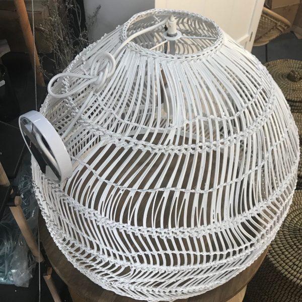 HKliving hanglamp riet wit 60x60x50cm (outlet)-27385
