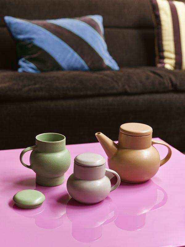 HKliving ceramic bubble tea mug L green-28160
