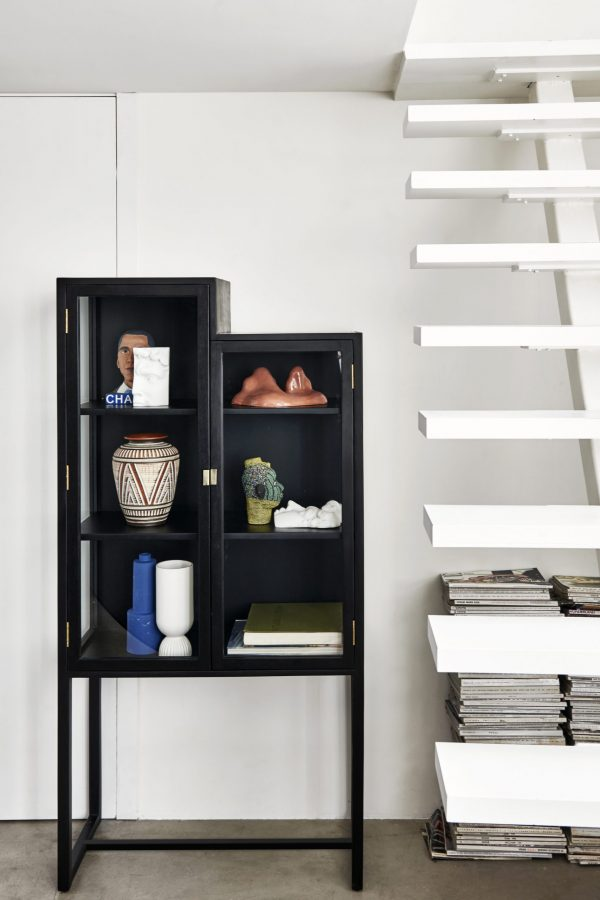 Hkliving stairs cabinet showcase black wood-28563