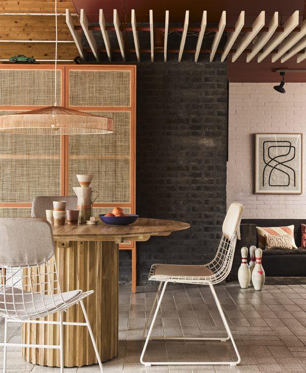 Hkliving pillar dining table round teak-28657