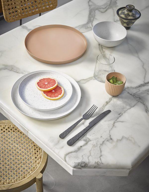 HKliving bold & basic ceramics: speckled breakfast plate white-27933