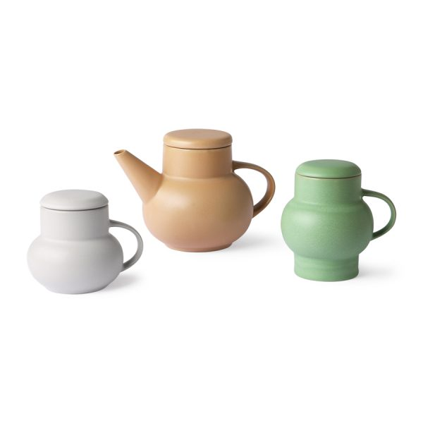 HKliving ceramic bubble tea mug M grey-28164