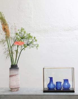 recycled glass vases cobalt (set of 3)-28204