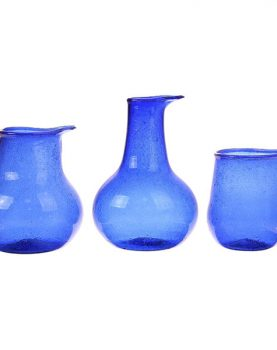 recycled glass vases cobalt (set of 3)-0