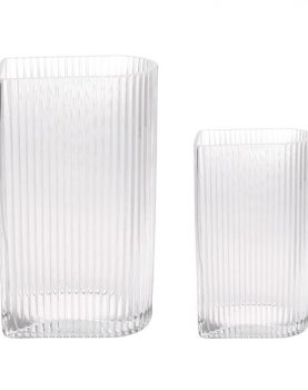 clear ribbed vases set of 2-0