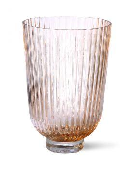 glass vase ribbed peach-28261