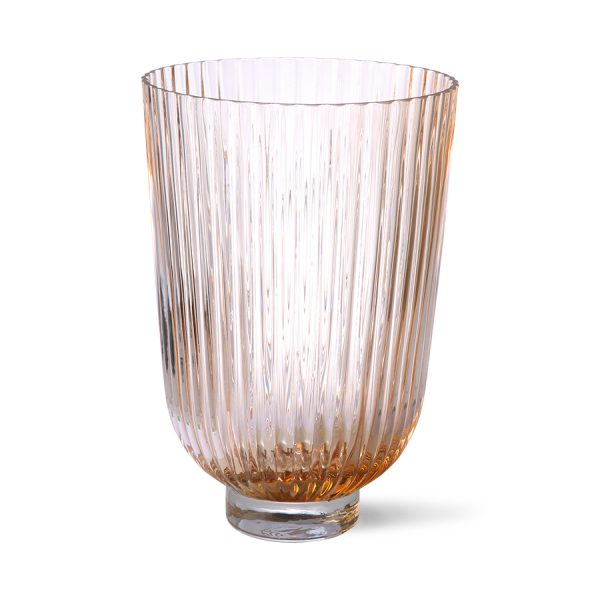 glass vase ribbed peach-28261