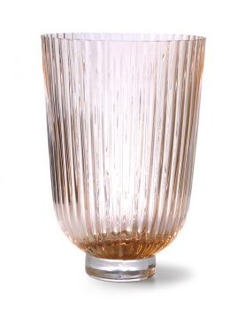 glass vase ribbed peach-0