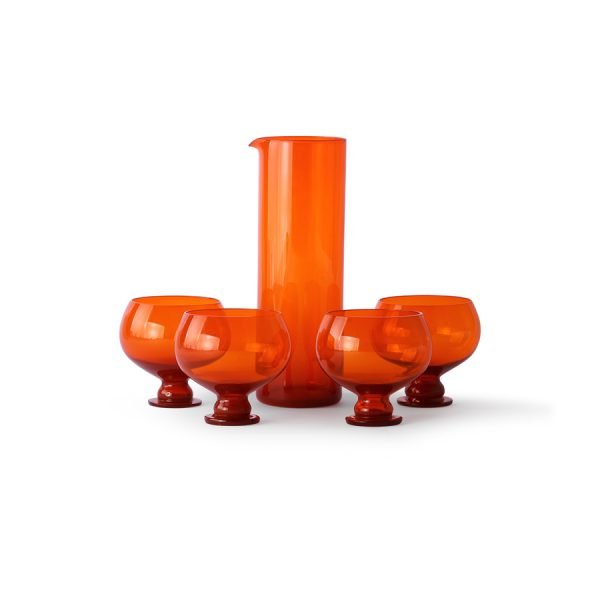 funky orange glassware set-28269