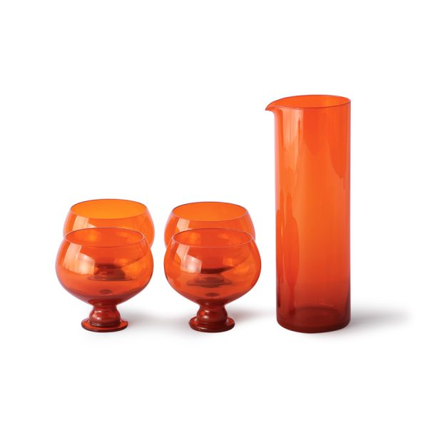 funky orange glassware set-28270