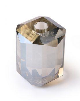 crystal glass candle holder grey diamond-0